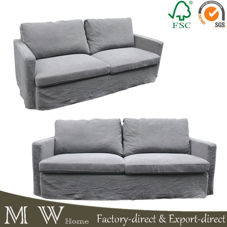 Antique Style Wood Frame 3 Seat Fabric Combination Sofa