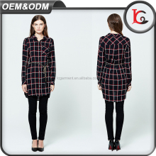 new arrival fashion design plaid shirt casual lady blouse images cotton long sleeve blouse with metal belt