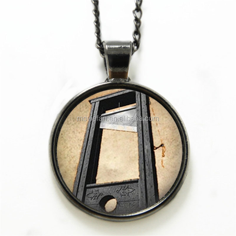 Guillotine necklace French Revolution Creepy Halloween Art necklace Revolution print glass necklace
