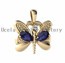 14k yellow gold Genuine Sapphire Butterfly Pendant dubai real gold jewelry cheap