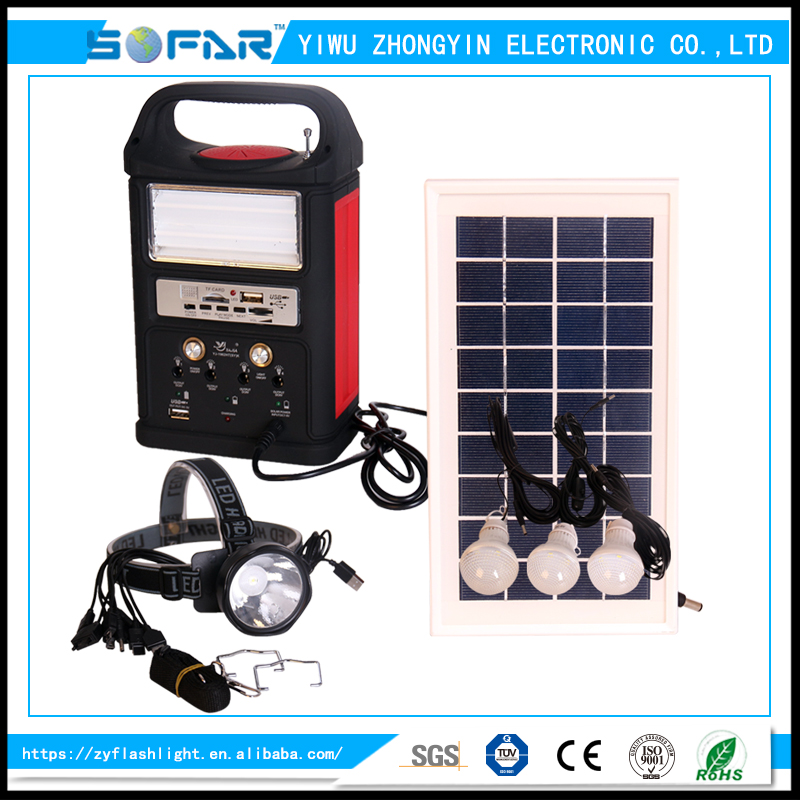 Portable Hot Solar Power Mibile Charger Rechargeable Emergency Lighting System With Radio
