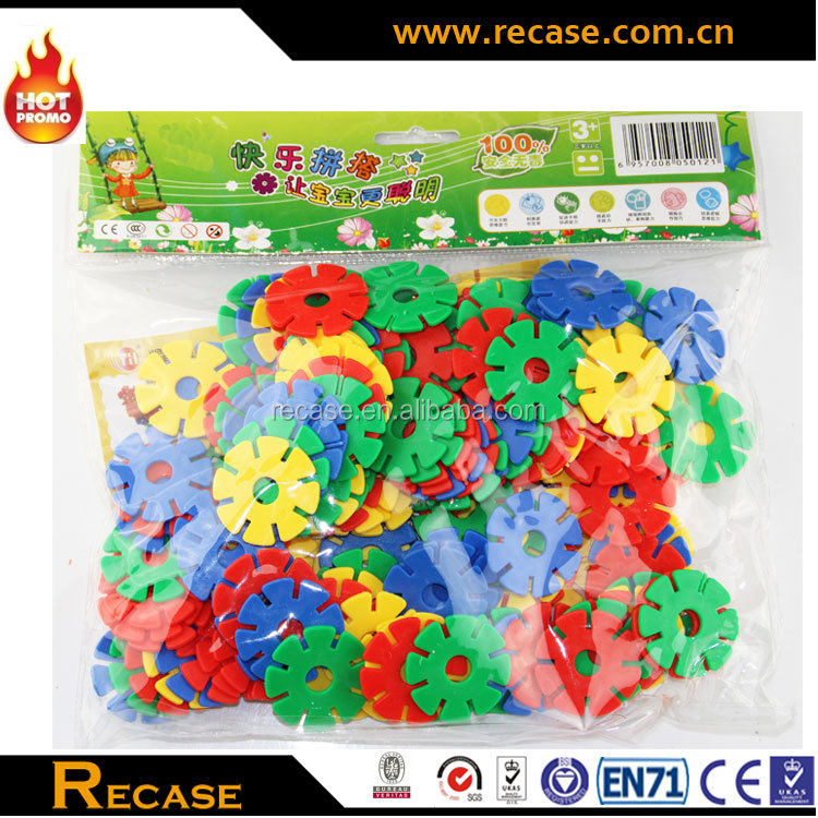 Creative Children Funny Plastic Flower Snowflake Building Blocks Toys For Preschool Block Toy DIY Assembling Toy
