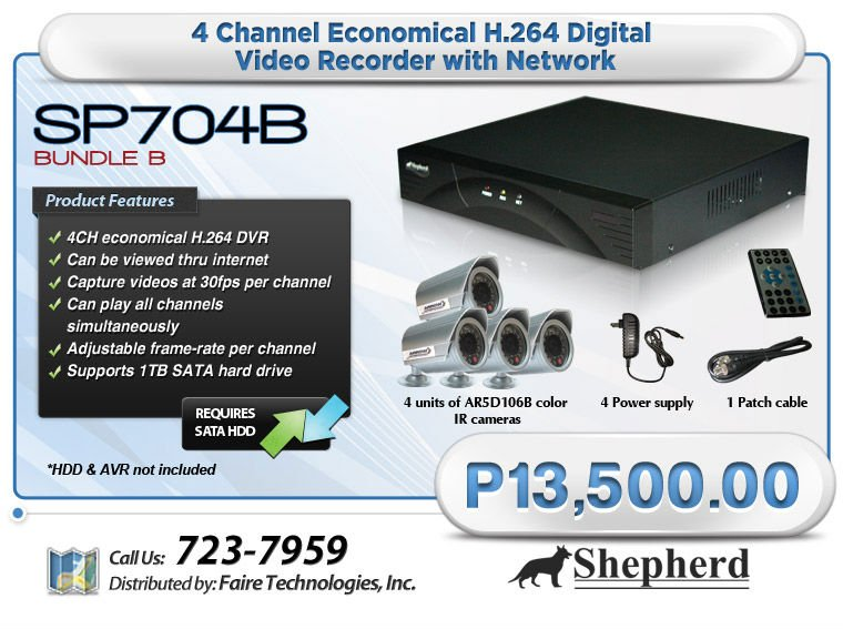 SP704B Digital Video Recorder is now on sales with 4 units of AR5D106B color IR camera and with other accessories.