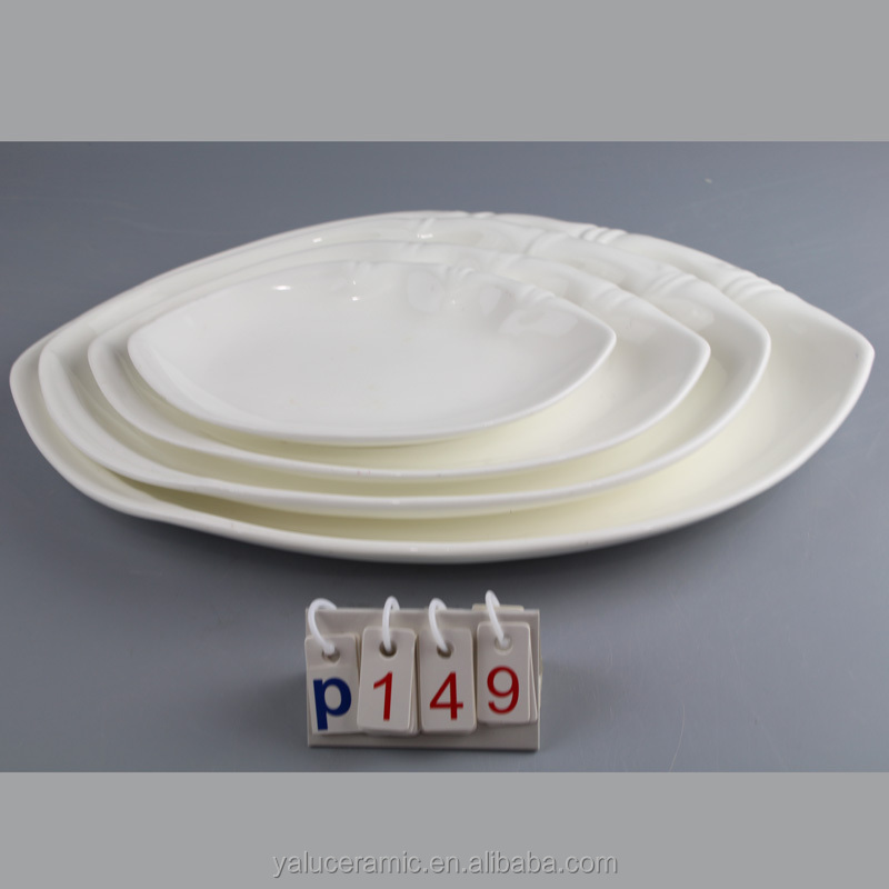 Customized bamboo shape ceramic porcelain plate 4 sizes choose P-149