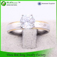 2014 Wholesale Gold Plated Stainless Steel cheap price of 1 carat diamond ring latest wedding ring J4-0094