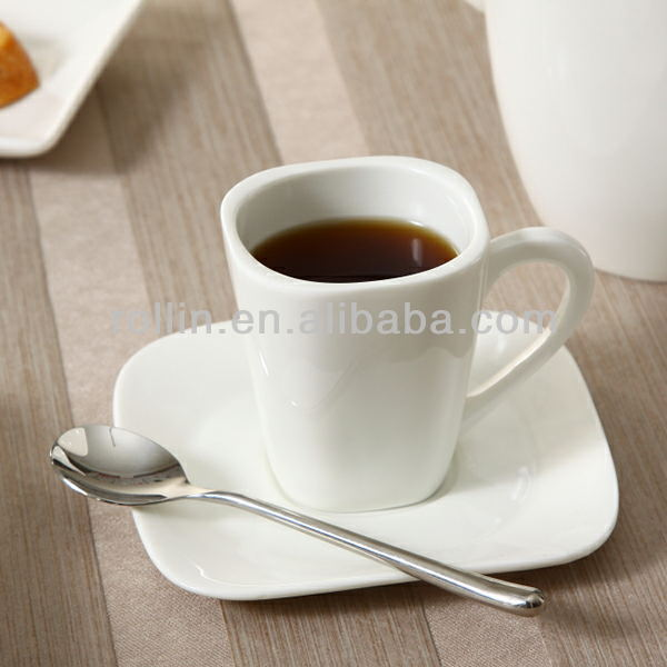 Coffee shop used high quality square coffee cup, ceramic coffee cup in stock