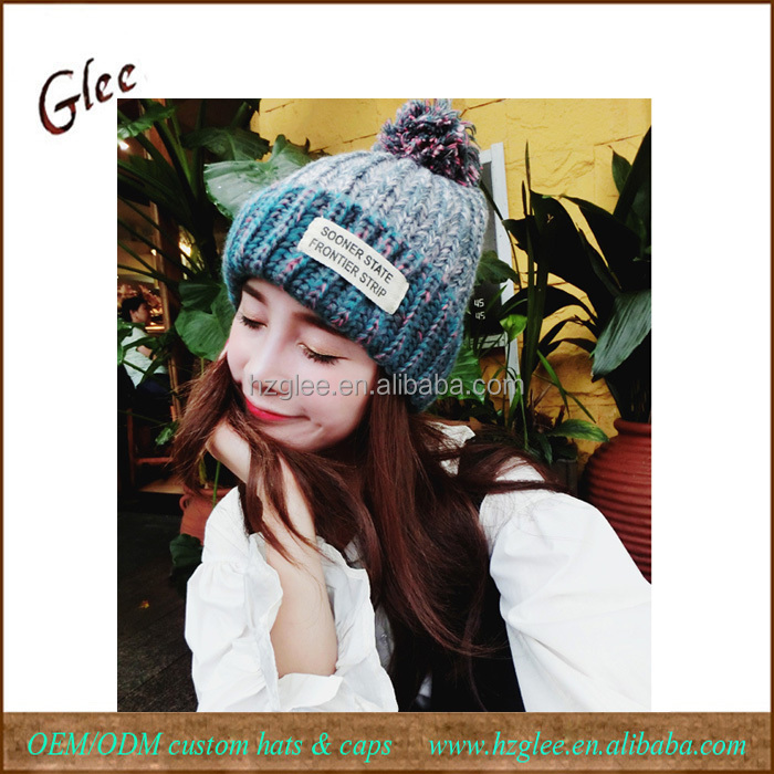 Colorful Beanies Hat Warm Winter Ski Pom Pom Hat