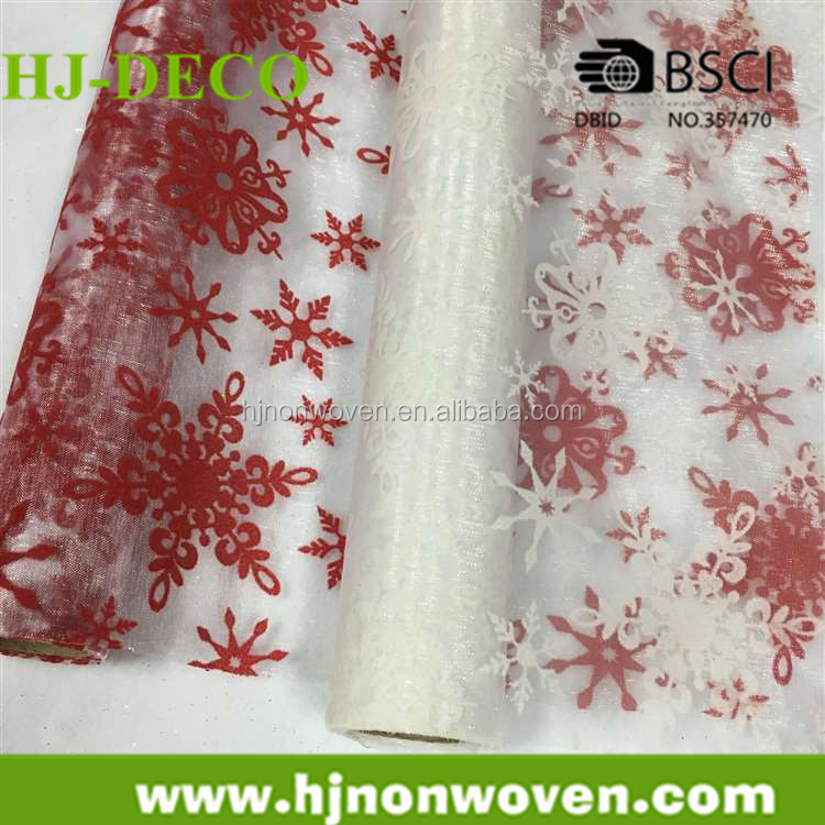 flocking snowflake design on organza fabric for christmas decor