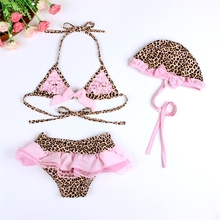 OEM Design Welcomed Fashion Leopard Printed Swimwear Sets Competitive Kids Swimsuit