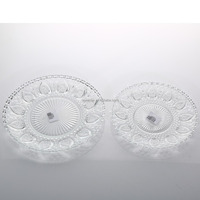 Bulk Wholesale Set 5 Clear Glass Wedding Plates Strawberry Embossed Glass Plate