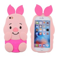 Unique Design Gift Item Cartoon Doll Toy Pink Piggy Protective Skin 3D Cute Pig Soft Piggy Phone Case Cover For Iphone 8