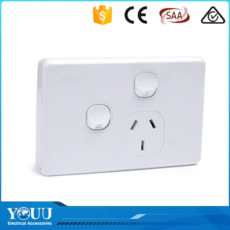 YOUU SAA Certificated Wholesale 2 Gang 1 Way Wall Safety Power Switch And Socket