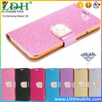 S5 Wallet With Card Slot Case For Samsung Galaxy S 5 i9600 PU Leather Noble Elegant Pouch Stand Protective Phone Luxury