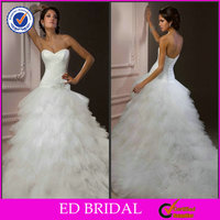 2014 Modern Simple Fluffy White Tulle Long Tail Ball Gown Wedding Dresses