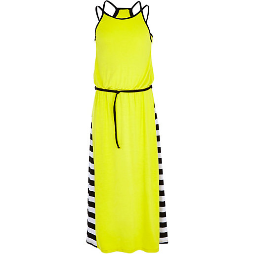 Children Girls Yellow Double Strip Cross back Summer Long Maxi Dress, China Baby Clothes Factory