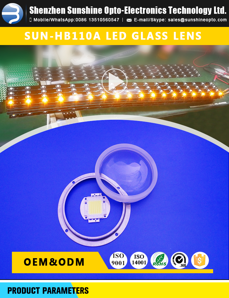 100 Degree 200w cob Led Lens with Borosilicate Glass Material