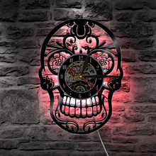 Mexican Skull Vinyl Record Wall Clock Skull Head Shadow Art Wall Home DecorLED Clock With Color Changing Light