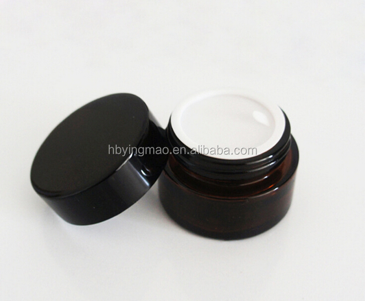 YM wholesale round small luxury skin care hair cream makeup matte glass amber screw top jars and bottles packaging with black l