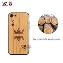 Unique King Queen Luxury TPU Wood Carving Cell Phone Case for iPhone