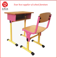 adjustable school desk and chair set metal leg wood top school desk
