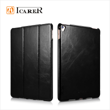 ICARER New Product Oil Wax Vintage Genuine Leather Folio Case for iPad Pro
