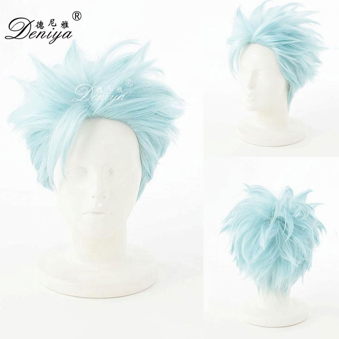 Light blue naruto cosplay anime wig short cosplay boys wig