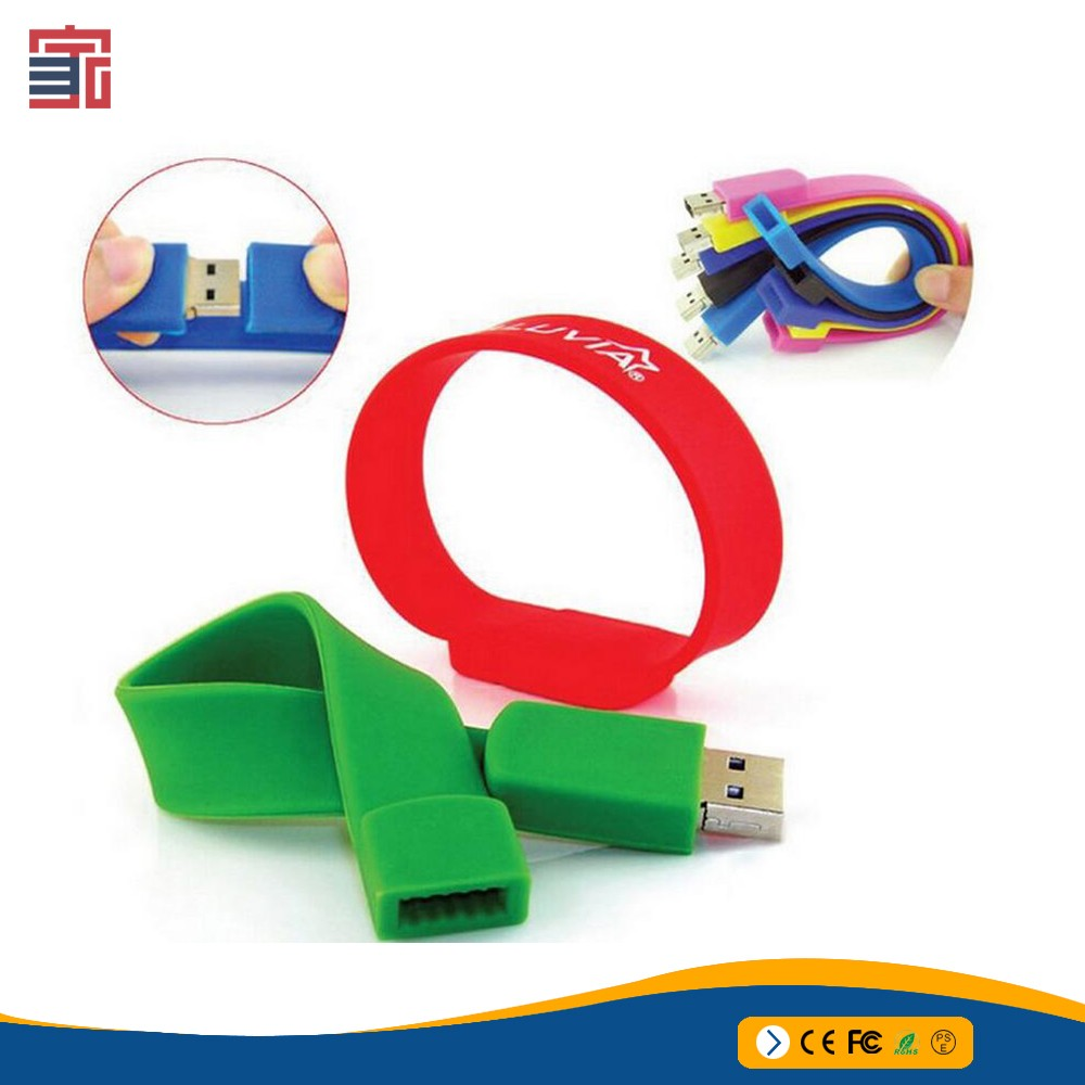 Rohs CE FCC high quality ruber silicone pendrive 8GB cheap bracelet usb flash drive