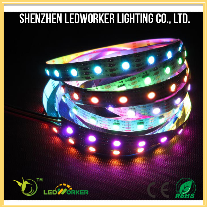 Hot sale apa102 30/60/144leds multicolor rgb pixel led strip ip64/ip65 waterproof led strip light