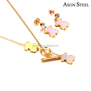 Trendy Fashion Miss Jewelry Animal Cute Bear Shell Gold Plated Stainless Steel Jewelry Sets for Gifts