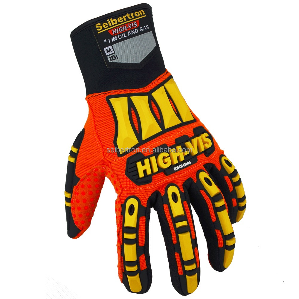 NEW Seibertron High-Vis SDX ORIGINAL Impact Protection <strong>Gloves</strong> - Orange Hi Vis Palm <strong>Gloves</strong> Heavy Duty Industrial <strong>Gloves</strong>