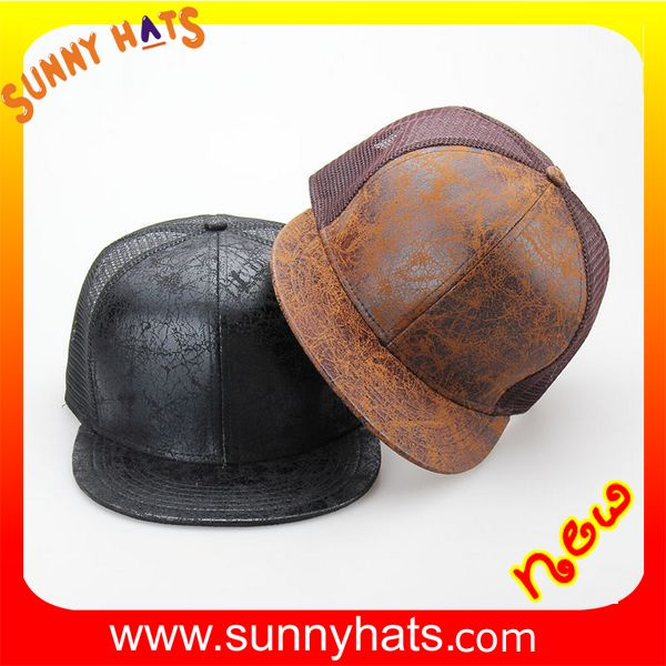 Customized 5 panel black hat with snapback