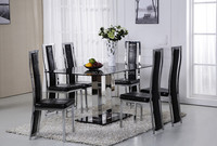 Luxury high quality tempered glass and metal dining table and chair