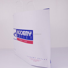 2015 New design white kraft paper bag with twisted handle for sports