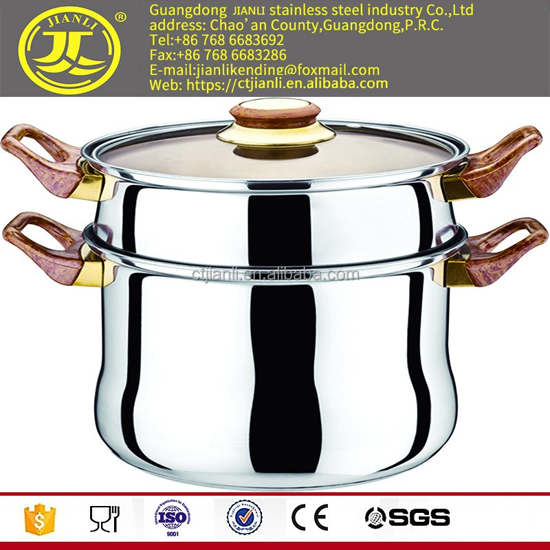Types of kitchen wares China supplier kitchen utensils hot pot Stainless steel two layer steamer saup pot mirror polish