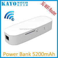 White 5200mAh portable 3G wireless router smart power bank for smartphone