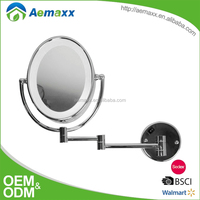 Extendable wall mounted round metal bathroom lighted professional makeup mirrors with led