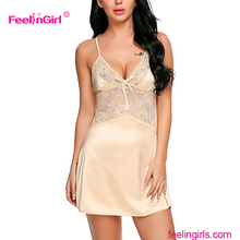 Dropshipping Chinese Supplier Lace Sleeveless Women Sex Sleeping Babydoll ladies night dress