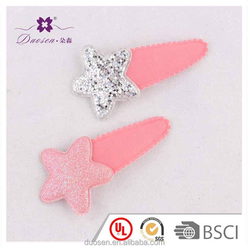 wholesale multicolor glitter start and ice cream figure girs kids hair clip hair pin