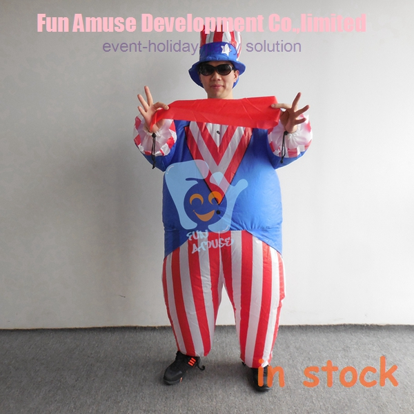 funny fat christmas American flag patriot inflatable costume
