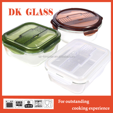 Glass Food Container with Cutlery/Pyrex Glass Food Storage Container