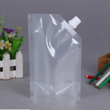 Drink juice water Squeeze refillable plastic spout clear transparent foldable travel kit travel pouch bag with high quality