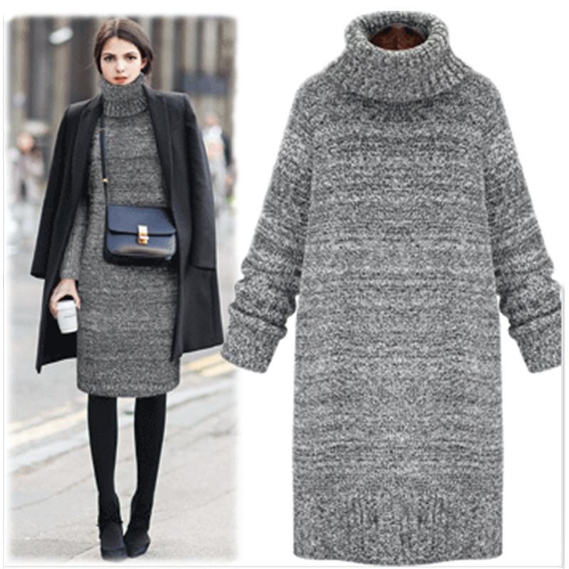 ZH02220B korean style thick loose turtleneck knit pullover sweater dress