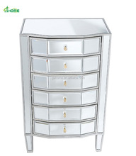 Adelaide Silver Mirrored Multi Drawer Tall Boy Chest
