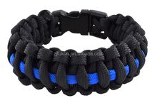 Outdoor Travel Camping Thin Blue Line Black Braided Weave Plastic Buckle Patriot Paracord Survival Bracelet
