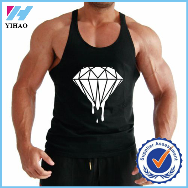 YIHAO DRIPPING DIAMOND BACK BODY BUILDING STRINGER VEST SINGLET GYM MUSCLE BUILDER MENS MUSCLE VEST FITNESS SINGLET MENS CLOTH