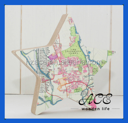 Personalized Wooden World Map Star Sahpe Map Pattern Map Star
