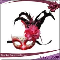 custom decorative craft venetian eye mask with feather and flower