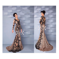 ASA0372 Elegant Beaded Shiny Sequins Arabic Lace Appliques Evening Dress Long Sleeve Evening Gown