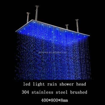 400 800mm Rectangular Brushed Surface Ceiling Mounted Led Big Rain Shower Hea
