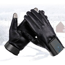 Leather smart uniform ski winter outdoor sports glove motorcycle band lamp touch screen heating sports glove with led light